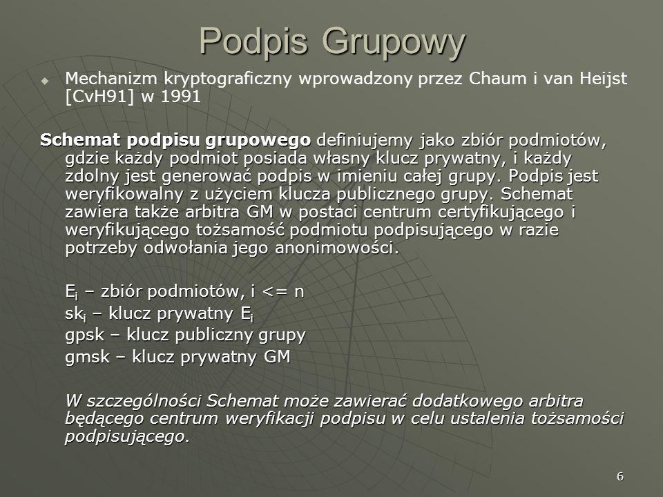 Podpis GrupowyMechanizm kryptograficzny wprowadzony przez Chaum i van Heijst [CvH91] w 1991.